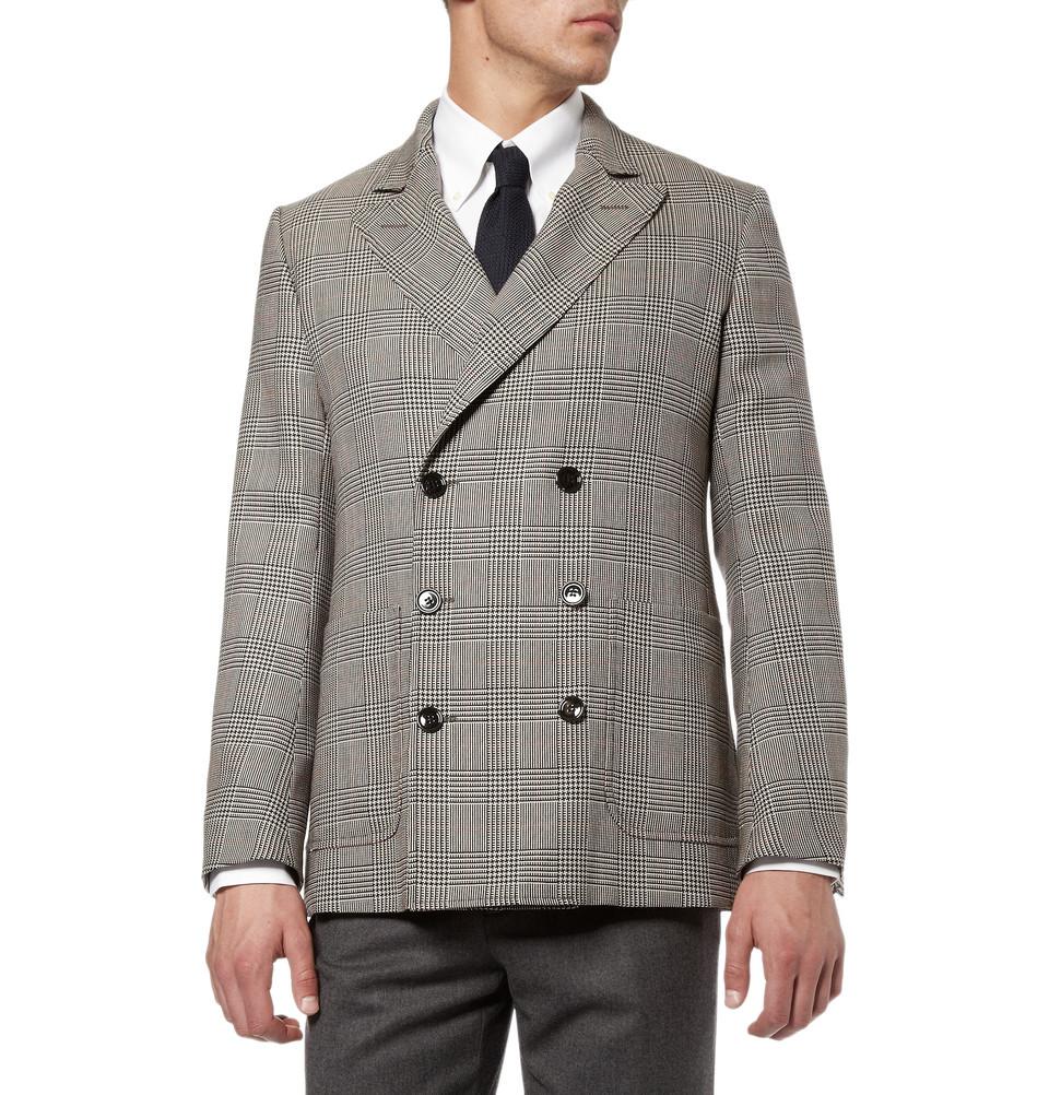 Мужской двубортный пиджак в клетку на 3-х пуговицах, Alexander McQueen