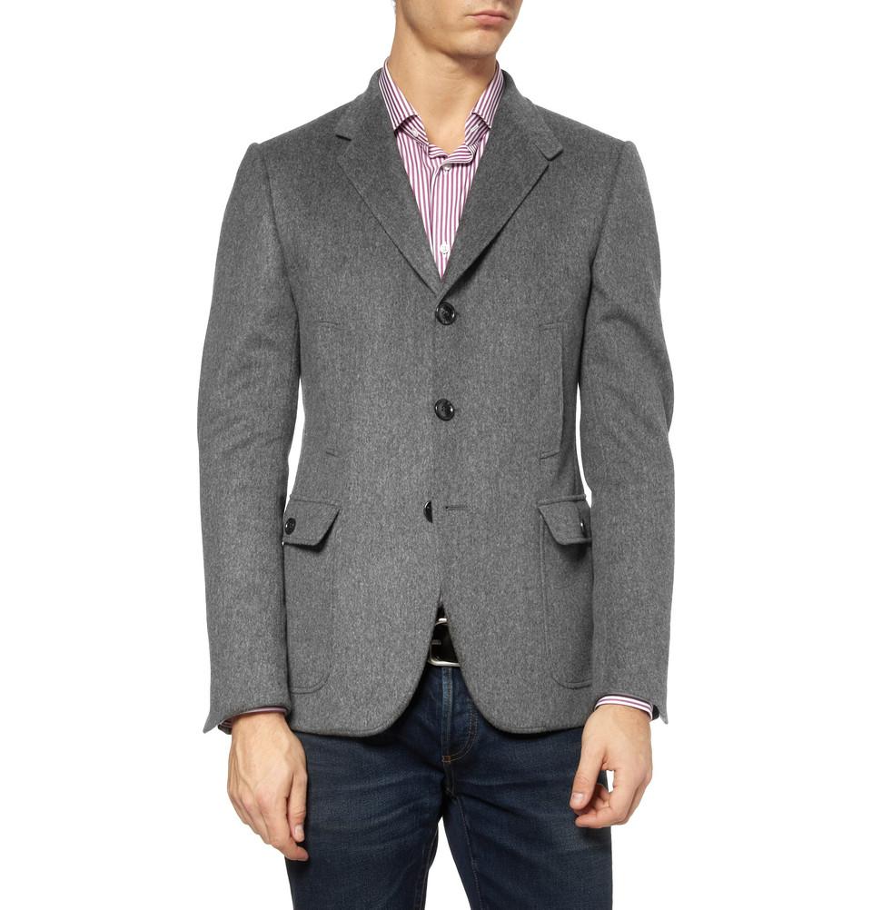 Мужской пиджак из серой шерсти на трех пуговицах, Gucci