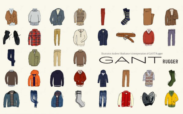 Иллюстрации Андрея Машанова для каталога GANT Rugger