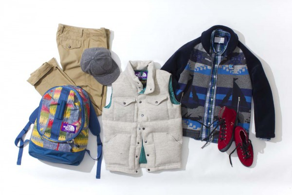 Клетчатая рубашка nanamica, пуховый жилет и рюкзак The North Face Purple Label, куртка Helly Hansen