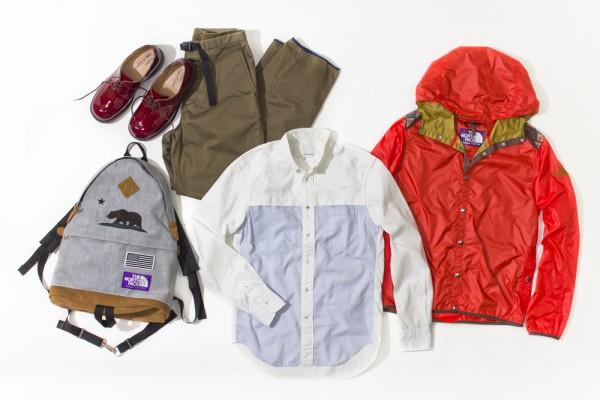 Оксфордская рубашка nanamica, рюкзак и красный дождевик The North Face Purple Label