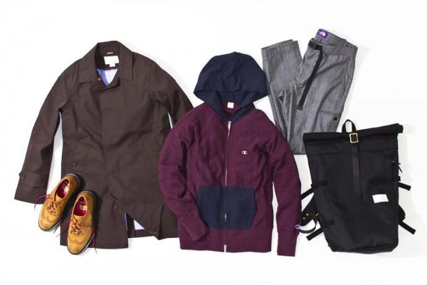Плащ и велосипедный рюкзак nanamica, худи Champion, шерстяные брюки The North Face Purple Label, ботинки Tricker's