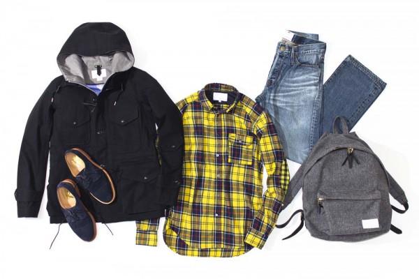 Парка 60/40, клетчатая рубашка, рюкзак из серой шерсти, nanamica, замшевые ботинки Mark McNairy