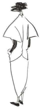 Эскиз женского пальто Yohji Yamamoto из коллекции 1989 года