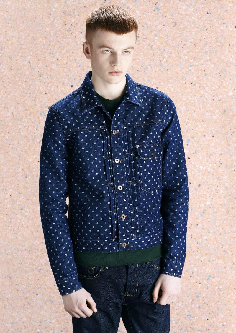 Мужская дизайнерская джинсовая куртка из синего денима в горох, Topman Design