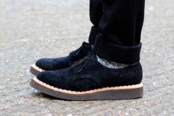 Мужские замшевые ботинки криперы темно-синего цвета British Remains x George Cox
