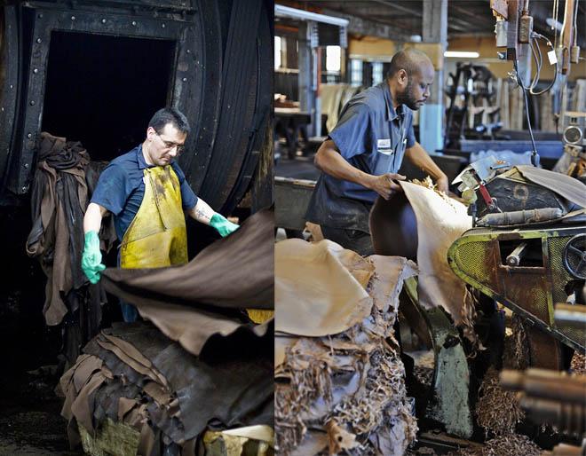 Рабочие фабрики Horween в процессе обработки кожи