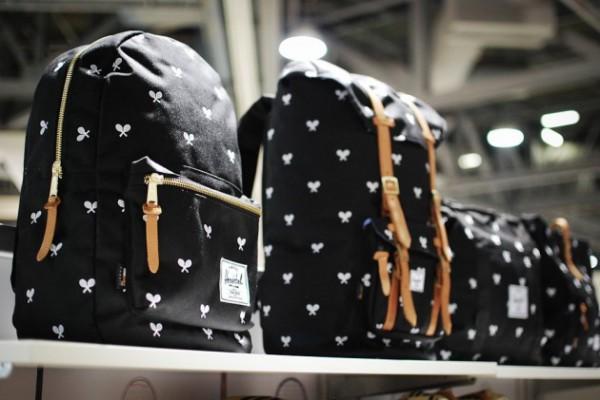 Черные мужские рюкзаки Herschel из cordura с принтом в виде теннисных ракеток
