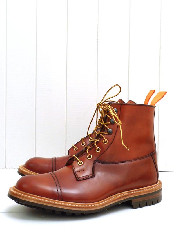Высокие ботинки Toe Cap Super Boot Tricker's x The Bureau из оранжевого кордована