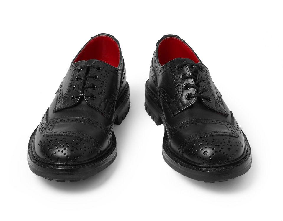 Мужские кожаные ботинки-броги Tricker's x Junya Watanabe черные с красной внутренней выделкой