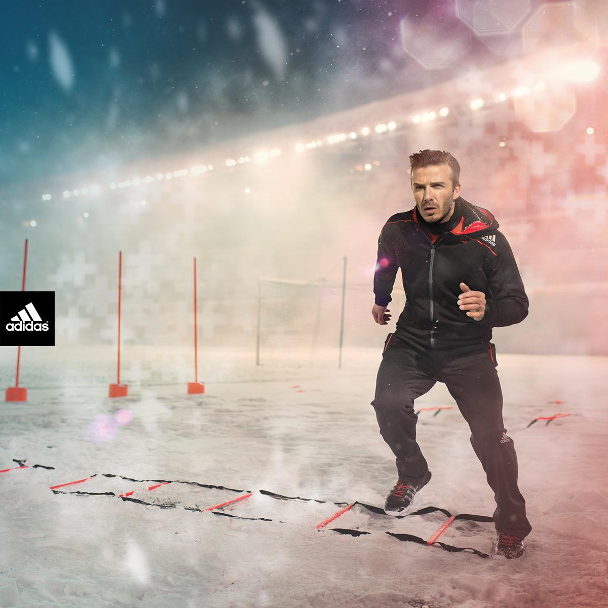 Дэвид Бекхэм в экипировке adidas Climawarm+ для занятий спортом в холодную погоду