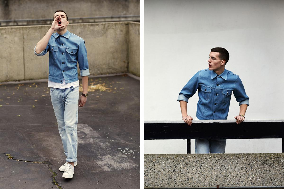 Мужчина в джинсах-варёнках Levi's 1967 505 и ярко-голубой куртке из денима
