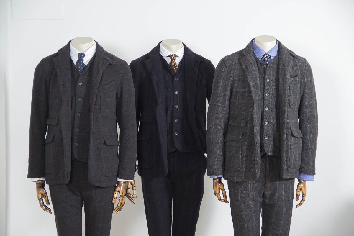Твидовые костюмы-тройки с жилетами Engineered Garments