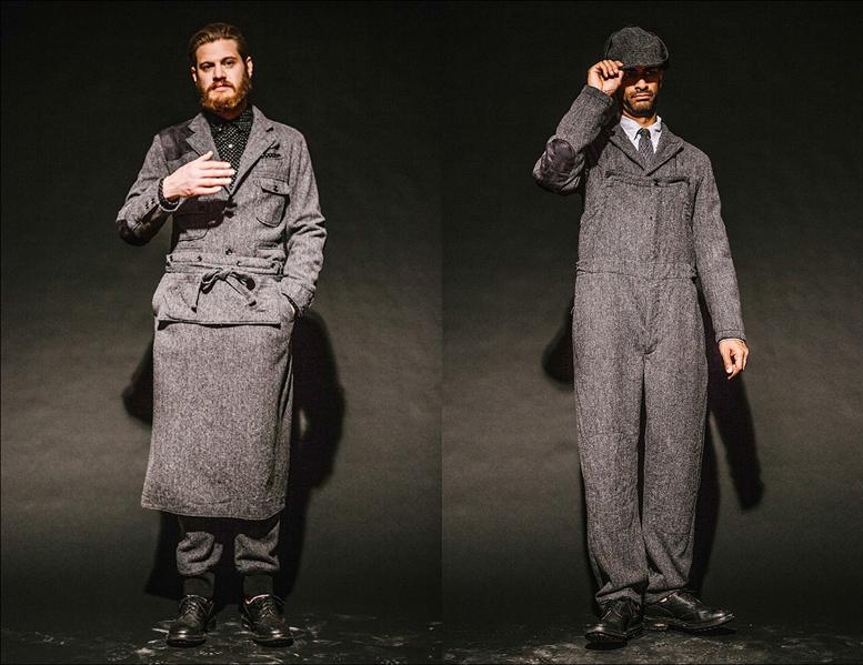 Жакеты и комбинезон из серого твида, Engineered Garments