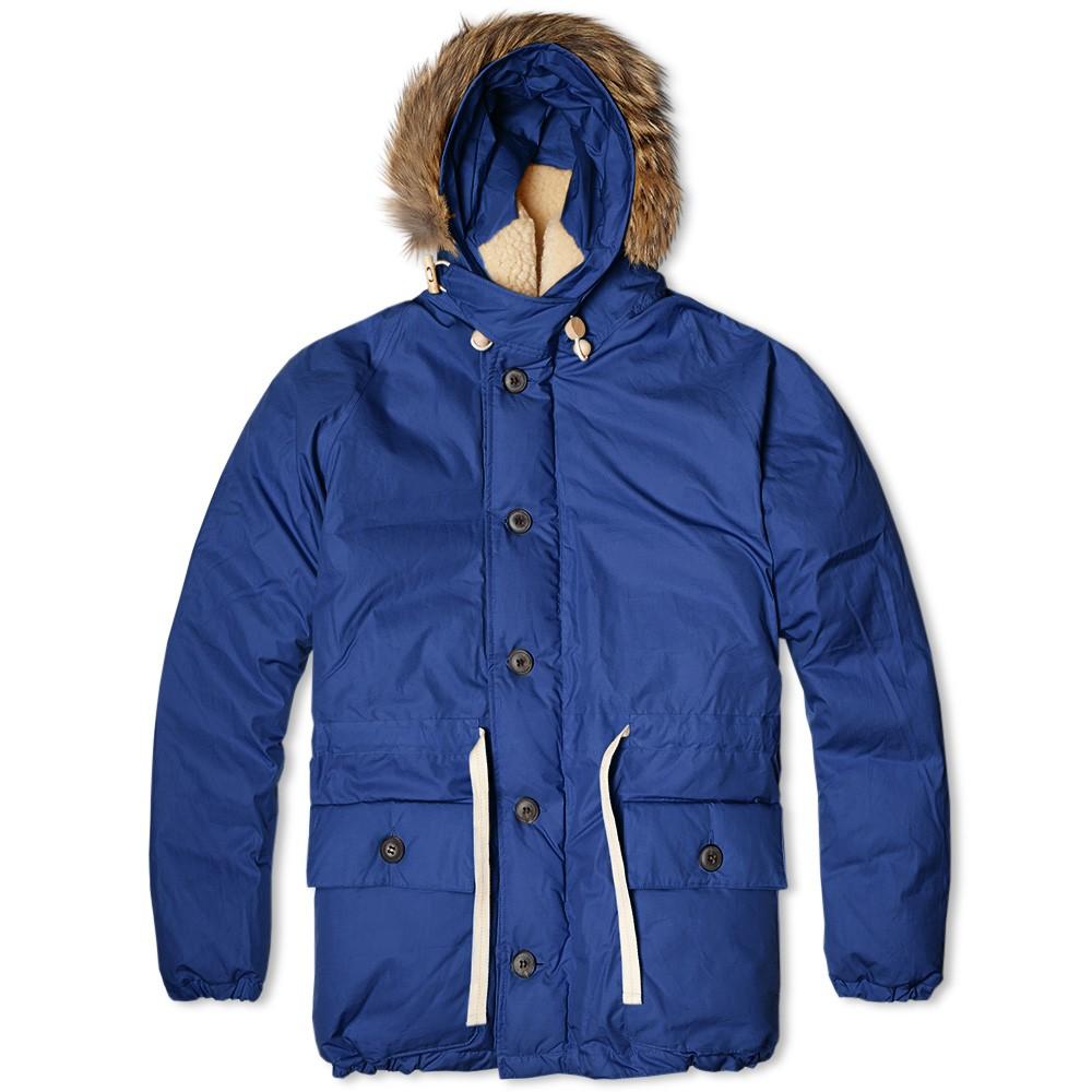 Зимняя мужская куртка-пуховик с капюшоном Nigel Cabourn Everest Parka синяя