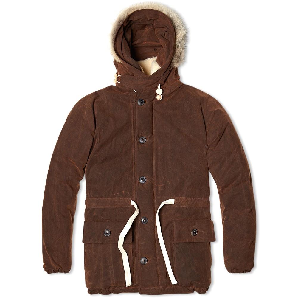 Мужской пуховик зимний с капюшоном с мехом Nigel Cabourn Everest Parka коричневый