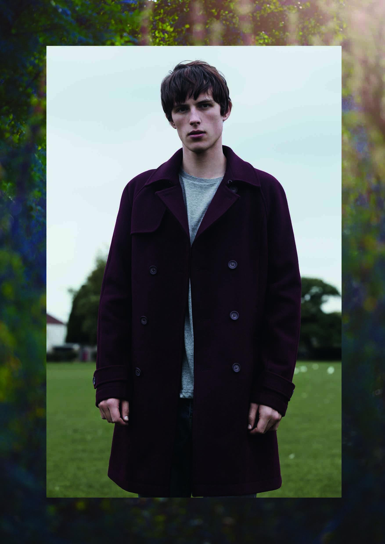 Темно-синее двубортное пальто из шерсти, Topman