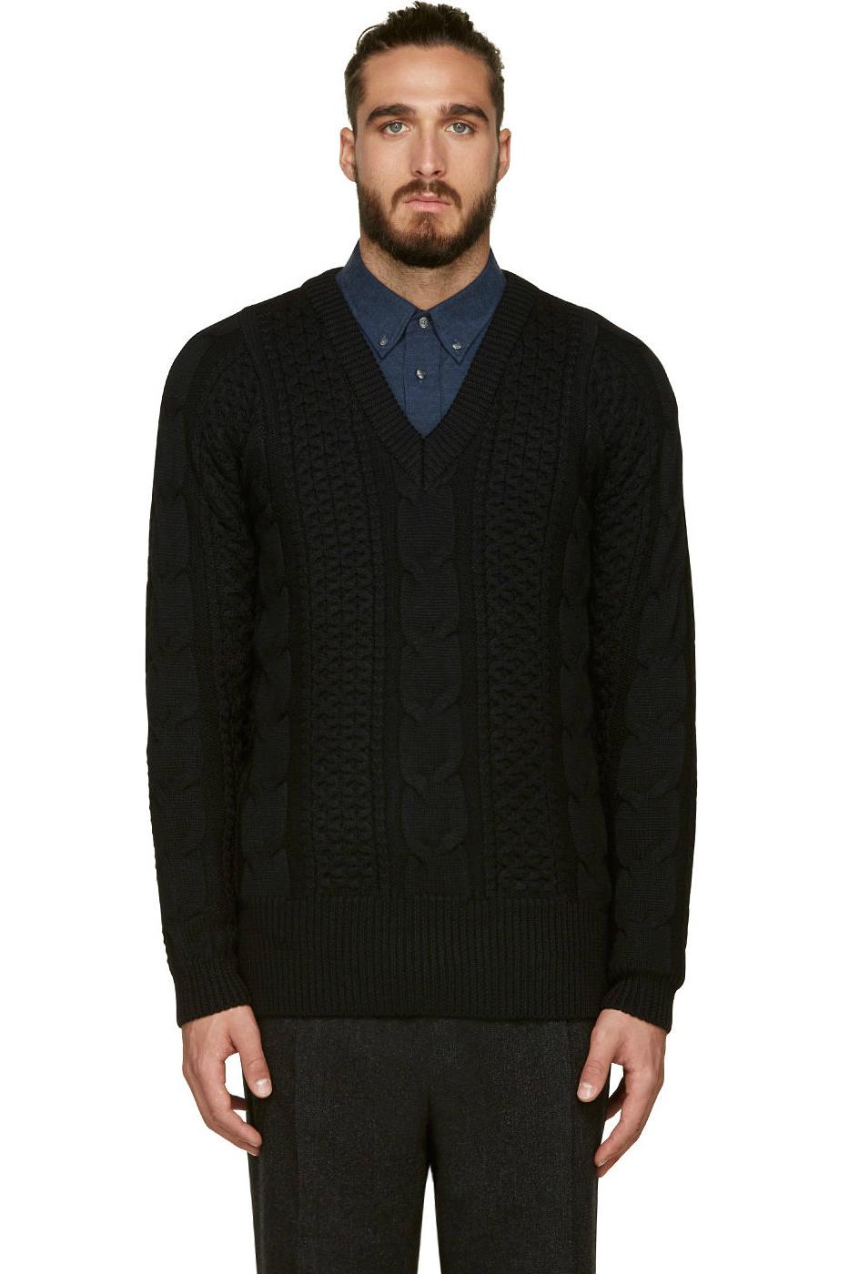 Мужской теплый черный свитер с косами, 08Sircus