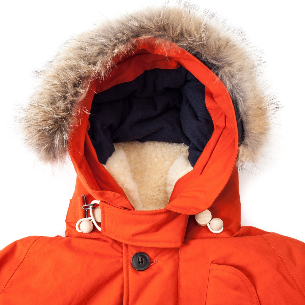 Меховой капюшон с отделкой из овчины пуховика для мужчин Nigel Cabourn Antarctic Parka